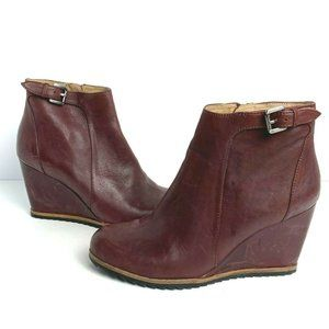 Biala Burgundy Leather Wedge Ankle Boots Booties 7